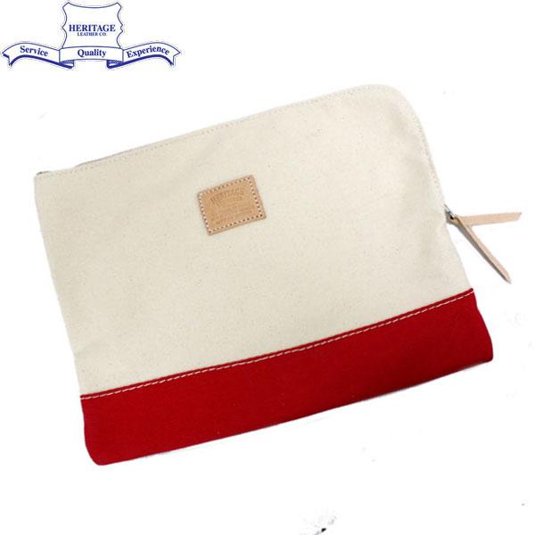 正規取扱店 HERITAGE LEATHER CO.(ヘリテージレザー) NO.8008 Clutch Bag(クラッチバッグ) Natural/Red HL038