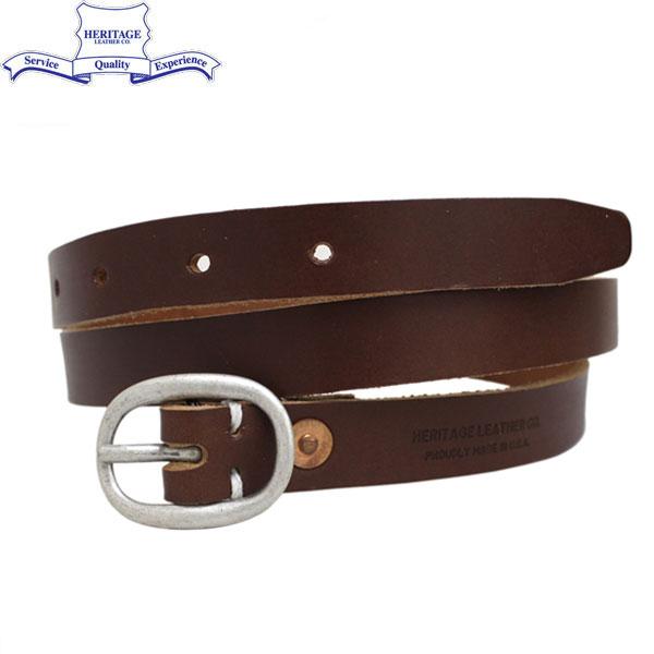 """正規取扱店 HERITAGE LEATHER CO.(ヘリテージレザー) NO.7932 0.75""""Leather Belt (0.75インチ レザーベルト) Brown HL044"""