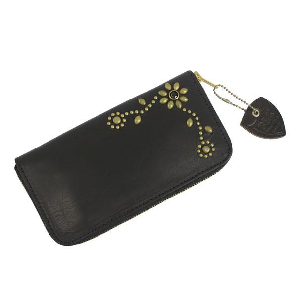 正規取扱店 HTC BLACK(HTCブラック) T1-L W023 1STONE FLOWER LONG WALLET フラワーロングウォレット ブラックレザーxブラススタッズ