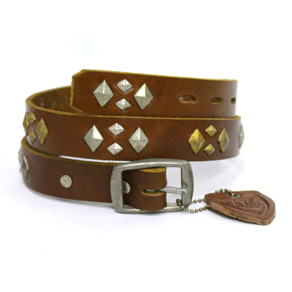 正規取扱店 HTC(Hollywood Trading Company) #DIA PLUS STUDS BELT スタッズベルト L.BROWN LEATHER ライトブラウンレザー