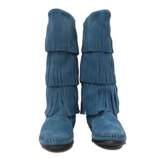 正規取扱店 MINNETONKA(ミネトンカ)Calf Hi 3-Layer Fringe Boot(3レイヤーフリンジブーツ)#1637F PEACOCK BLUE レディース MT236