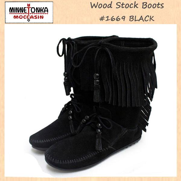 正規取扱店 MINNETONKA(ミネトンカ)Wood Stock Fringe(ウッドストックフリンジ)#1669 BLACK SUEDE レディース MT181