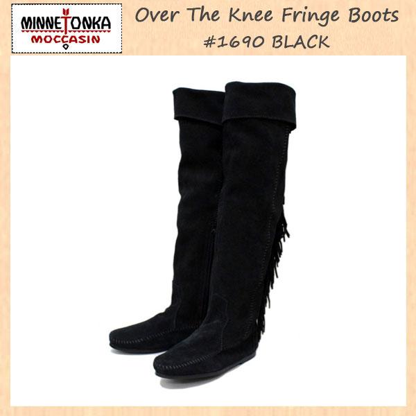 正規取扱店 MINNETONKA(ミネトンカ) Over The Knee Fringe Boots(オーバーニーフリンジブーツ) #1690 BLACK レディース MT226
