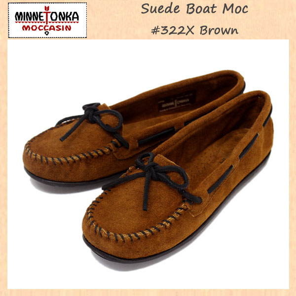 正規取扱店 MINNETONKA(ミネトンカ) Suede Boat Moc(スエードボートモック) #322X BROWN レディース MT272