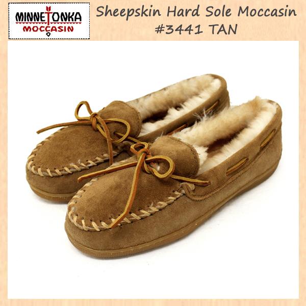 正規取扱店 MINNETONKA(ミネトンカ)Sheepskin Hard Sole Moccasin(シープスキンハードソールモカシン)#3441 TAN レディース MT087