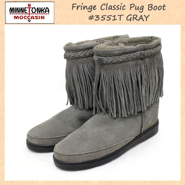 正規取扱店 MINNETONKA(ミネトンカ)Fringe Classic Pug Boot(フリンジクラシックパグブーツ)#3551T GRAY レディース MT069