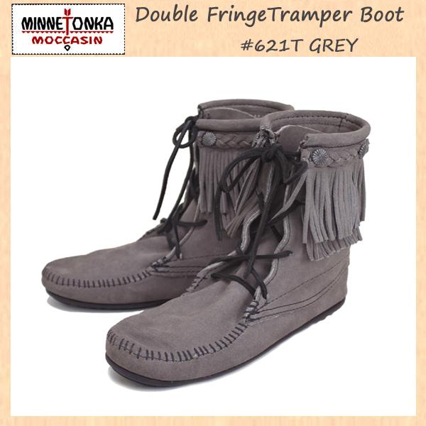 正規取扱店 MINNETONKA(ミネトンカ)Double FringeTramper Boot(ダブルフリンジ トランパーブーツ)#621T GREY レディース MT021