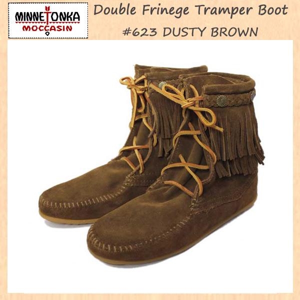正規取扱店 MINNETONKA(ミネトンカ)Double FringeTramper Boot(ダブルフリンジ トランパーブーツ)#623 BLACK レディース MT034