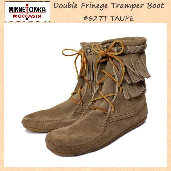 正規取扱店 MINNETONKA(ミネトンカ)Double FringeTramper Boot(ダブルフリンジ トランパーブーツ)#623 TAUPE レディース MT035
