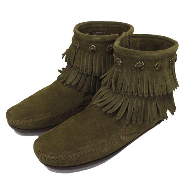 正規取扱店 MINNETONKA(ミネトンカ) Double Fringe Side Zip Boot(ダブルフリンジサイドジップブーツ) #695F LODEN レディース MT356