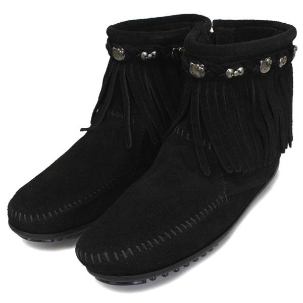 正規取扱店 MINNETONKA(ミネトンカ) HELLO KITTY Fringe Boot(フリンジブーツ) #699K BLACK レディース MT363