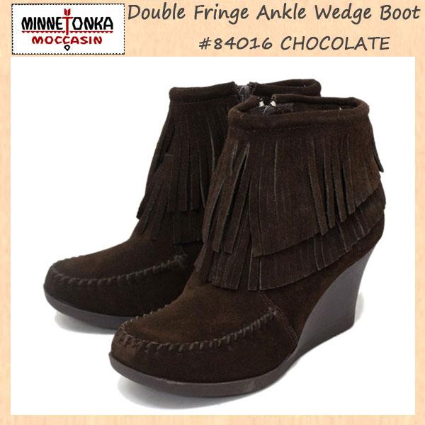 正規取扱店 MINNETONKA(ミネトンカ) Double Fringe Ankle Wedge Boot(ウェッジブーツ) #84010 CHOCOLATE レディース MT240