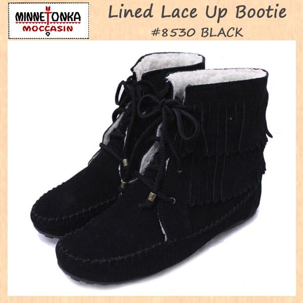 正規取扱店 MINNETONKA(ミネトンカ)Lined Lace Up Bootie(ラインドレースアップブーティ)#8530 BLACK レディース MT090