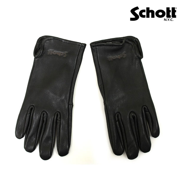正規取扱 SCHOTT(ショット) DEER SKIN GLOVE(ディアスキングローブ) BLACK ブラック
