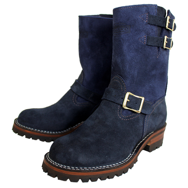 Wescoウエスコ 正規ディーラー Navy Rough Out ネイビーラフアウト,9height,#100sole,2straps,Brass Bucles BS69