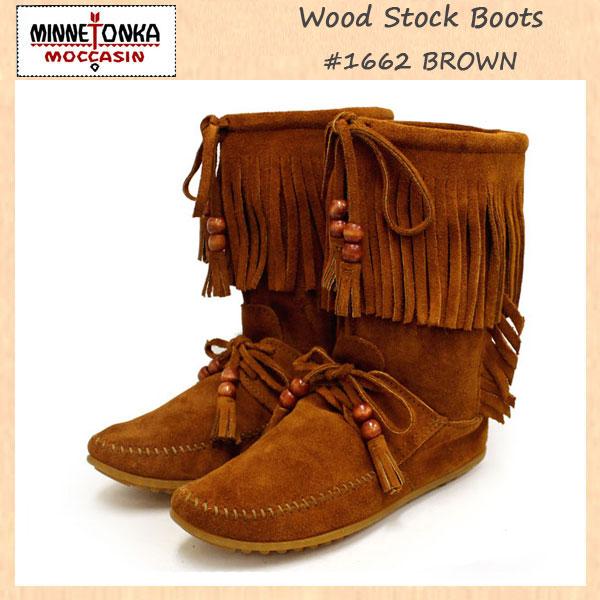 正規取扱店 MINNETONKA(ミネトンカ)Wood Stock Fringe(ウッドストックフリンジ)#1662 BROWN SUEDE レディース MT180