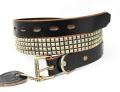 正規取扱HTC(Hollywood Trading Company)  #14S-100  4連スモールピラミッドベルト  Black Leather x Silver Studs