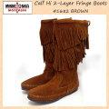 正規取扱店 MINNETONKA(ミネトンカ)Calf Hi 2-Layer Fringe Boot(カーフハイ2レイヤーフリンジブーツ)#1682 BROWNSUEDE レディース MT176