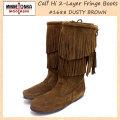 正規取扱店 MINNETONKA(ミネトンカ)Calf Hi 2-Layer Fringe Boot(カーフハイ2レイヤーフリンジブーツ)#1688 D.BROWNSUEDE レディース