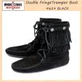 正規取扱店 MINNETONKA(ミネトンカ)Double FringeTramper Boot(ダブルフリンジ トランパーブーツ)#629 BLACK レディース MT022