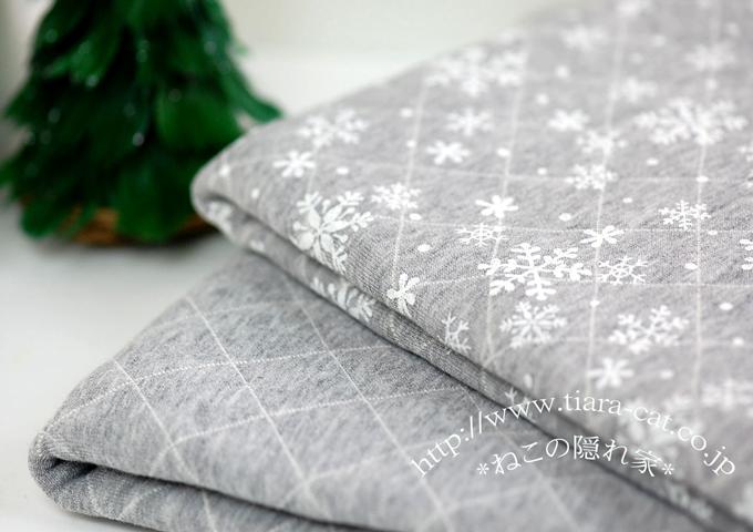 雪の結晶キルト グレー