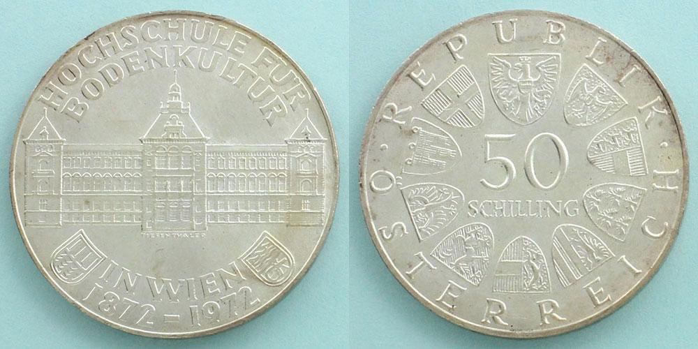 オーストリア 1972 50シリング銀...