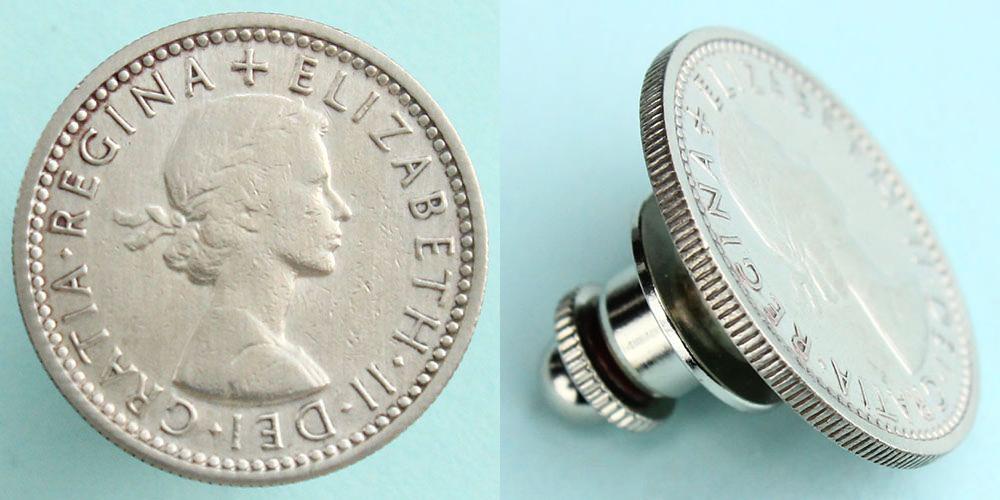 イギリス 6ペンス 「エリザベス女王」 ピンズ
