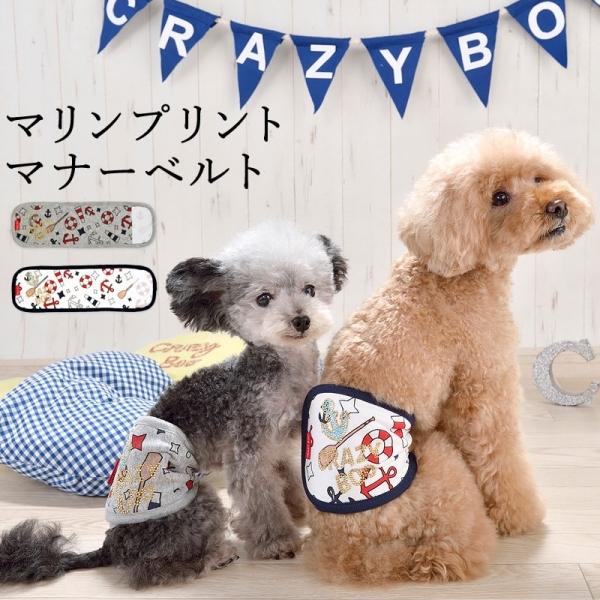 CRAZYBOO (クレイジーブー) マリンプリントマナーベルト【小型犬マナーバンドマーキングガード】