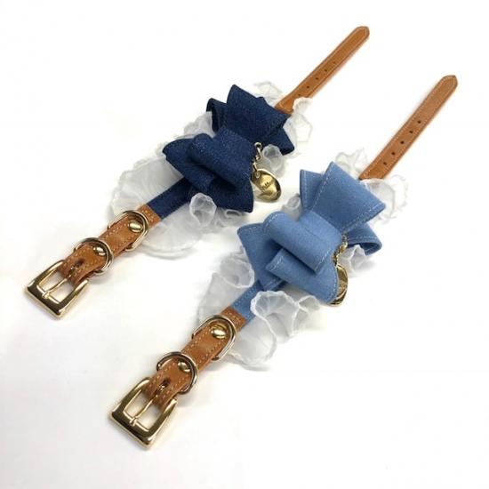 minttan(ミントタン)デニムタックフリル カラー&リード セット【小型犬首輪カラーリードセレブ】