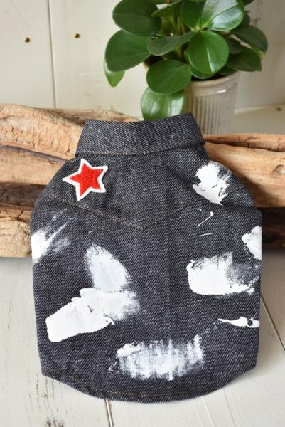 プエルト PUERTO  ペイントダンガリーシャツ BK(黒)