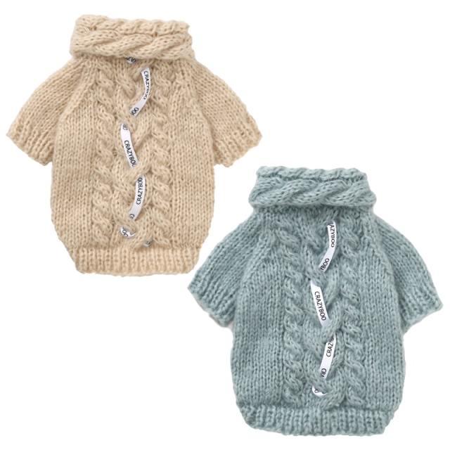 クレイジーブー CRAZYBOO CBロゴ付手編みセーター
