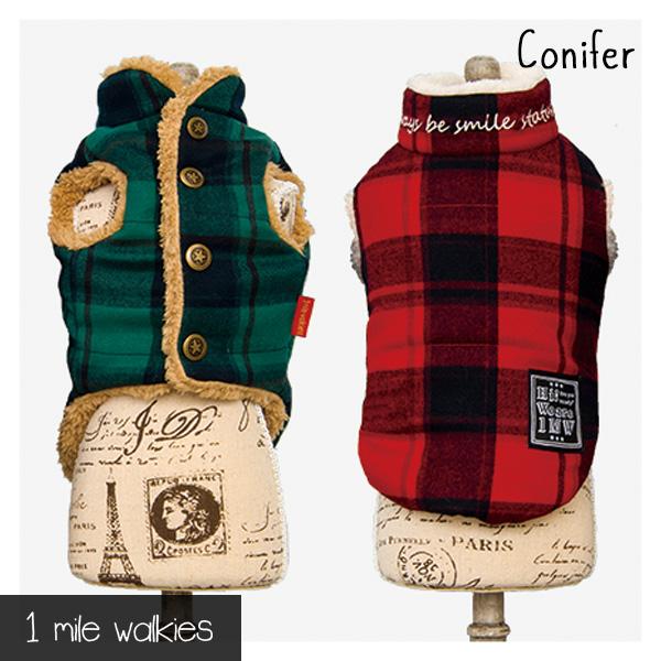 ワンマイルウォーキーズ 1 mile walkies コニファー Conifer Check & Fur Vest