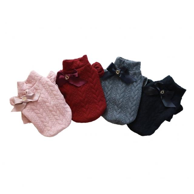 ミムット mimtto Cable Knit Jersey Turtleneck Top