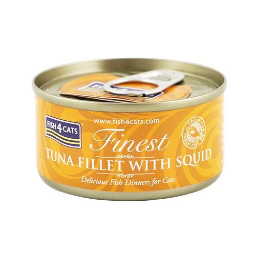 フィッシュ4 キャット FISH4CATS 缶詰「ツナ&イカ」TUNA FILLET WITH SQID