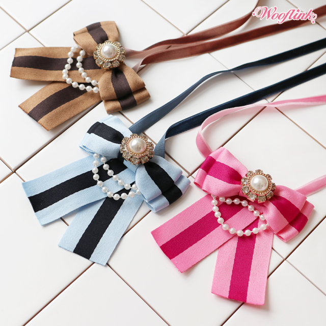 ウーフリンク WOOFLINK STRIPE BOW NECKLACE
