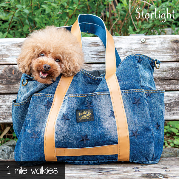 ワンマイルウォーキーズ 1 mile walkies スターライト Starlight Star Embroidery Denim Bag