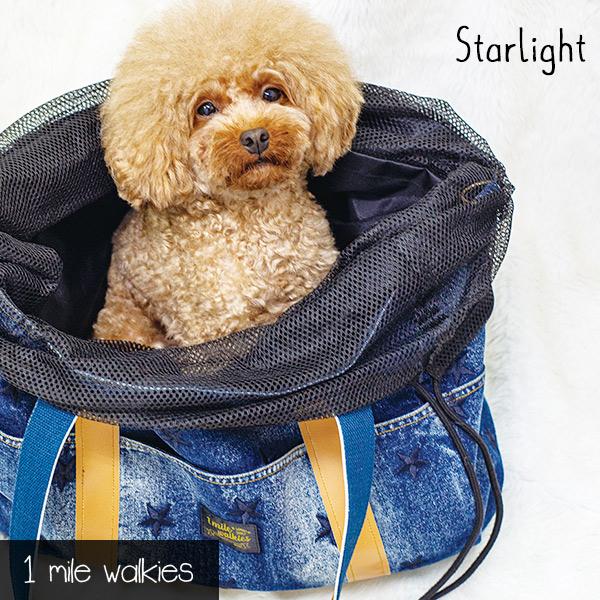 ワンマイルウォーキーズ 1 mile walkies スターライト Starlight Star Embroidery Denim Bag