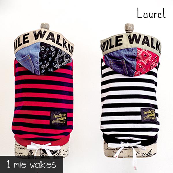 ワンマイルウォーキーズ 1 mile walkies ローレル Laurel Stripe Hooded Vest【犬服 小型犬 ウエア トップス パーカ ベスト カジュアル】