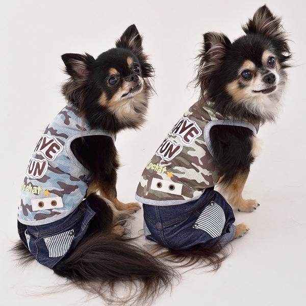ディーズチャット D's CHAT ストライプポケットパンツ【小型犬 犬服 ウエア ロンパース カバーオール つなぎ パンツ カジュアル】