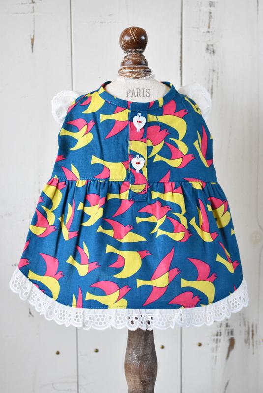 プエルト PUERTO 小鳥ガーデンフリルワンピ by makumo textile