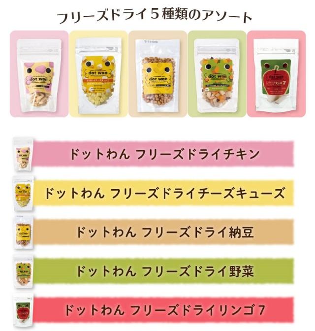 ドットわん dot wan フリーズドライミニ5種セット(チキン・チーズ・納豆・野菜・リンゴ7)