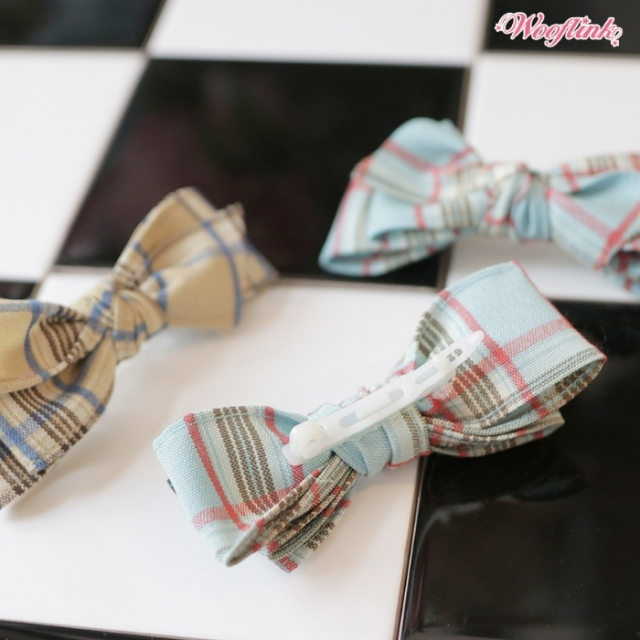 ウーフリンク WOOFLINK PLAID HAIRBOW