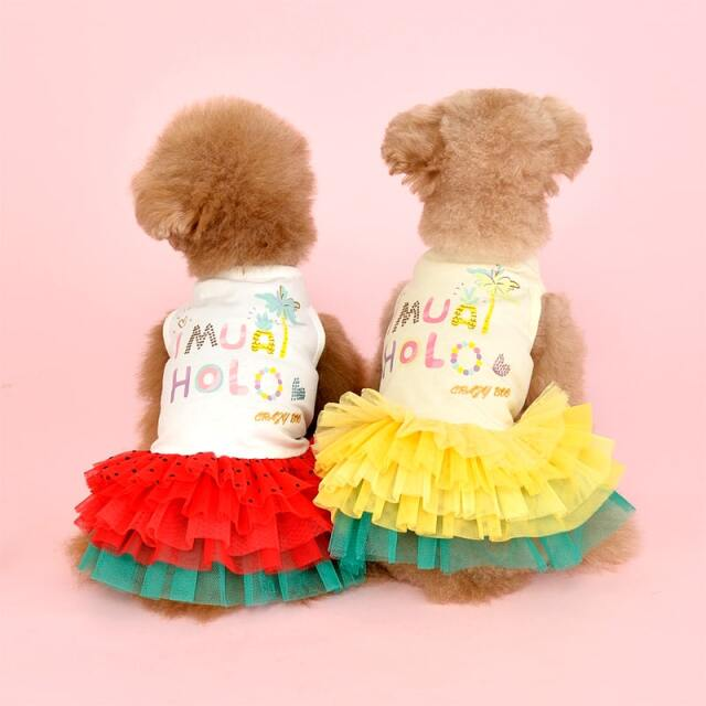 クレイジーブー CRAZYBOO アロハチュチュワンピ【小型犬 犬服 ウエア ワンピース ドレス カジュアル】