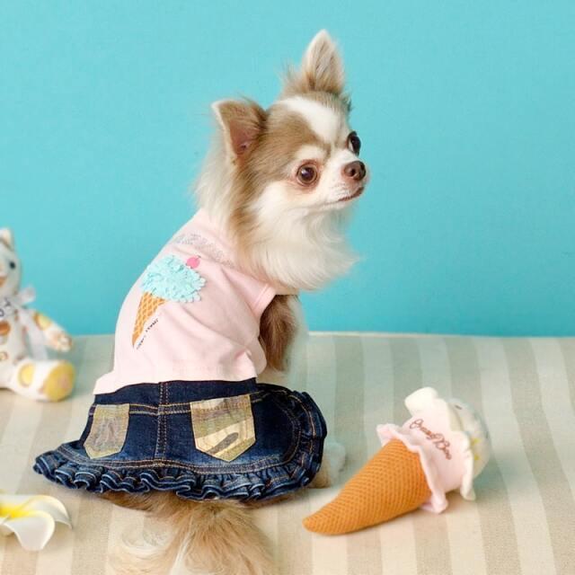 クレイジーブー CRAZYBOO アイスクリームワンピ【小型犬 犬服 ウエア ワンピース ドレス カジュアル】