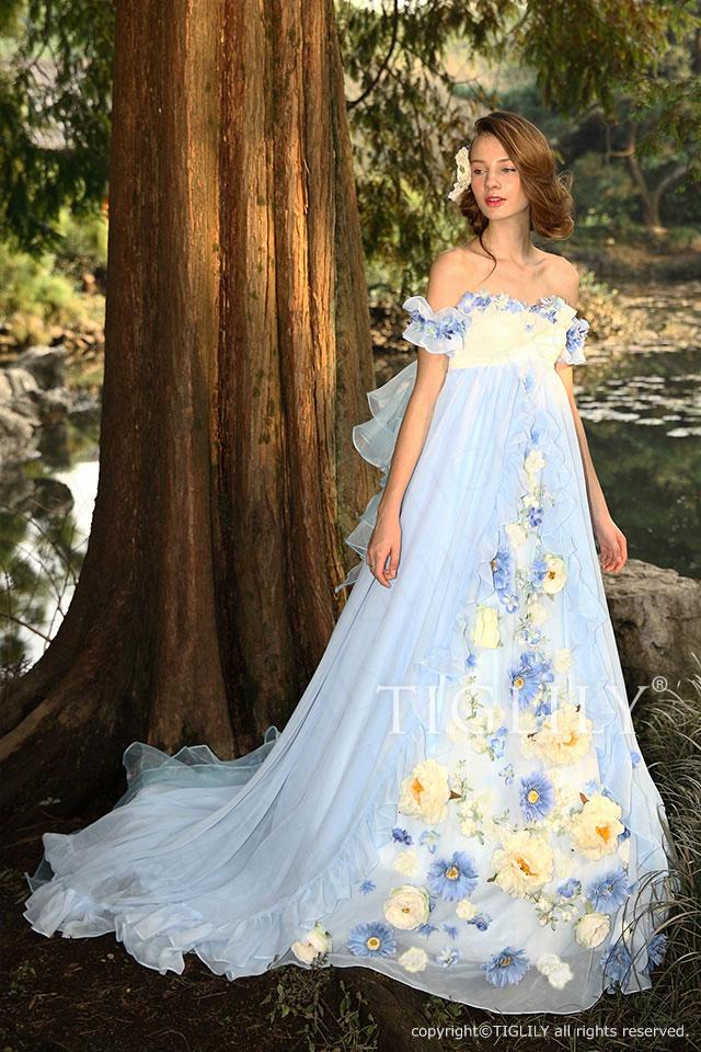c118 TIGLILY カラードレス ブルー