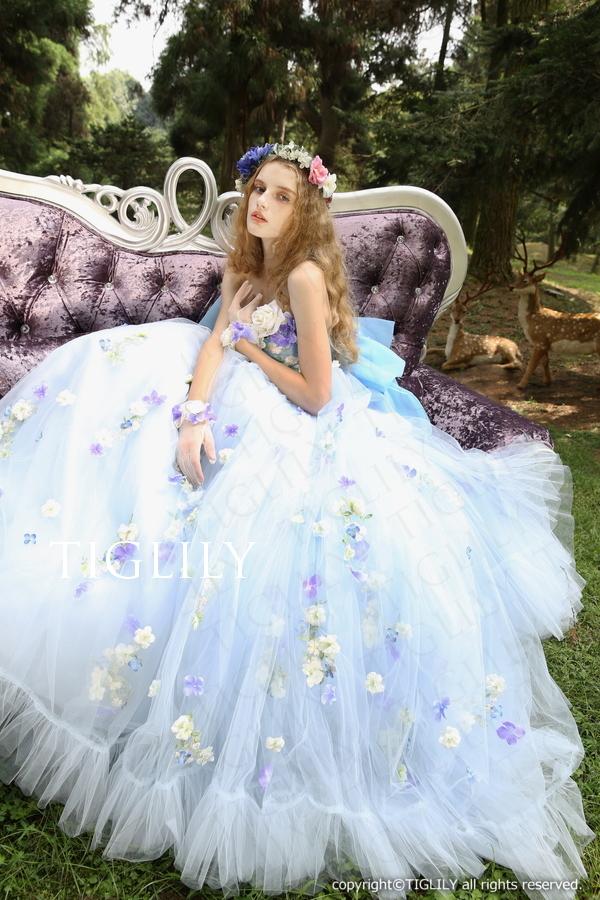 TIGLILY カラードレス Aライン ブルー c129