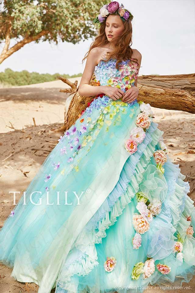 TIGLILYの360度どこから見ても違うブルーグリーンのお花のフラワードレスc196