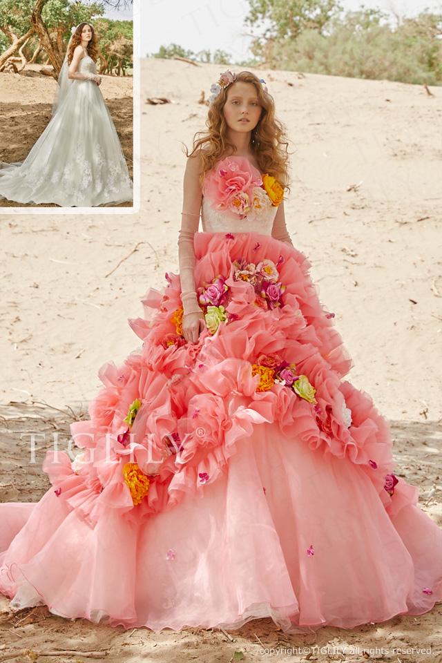 【レイシー Racy】お花のドレス_2way_オーバースカート(c204)    55,800円(税別)