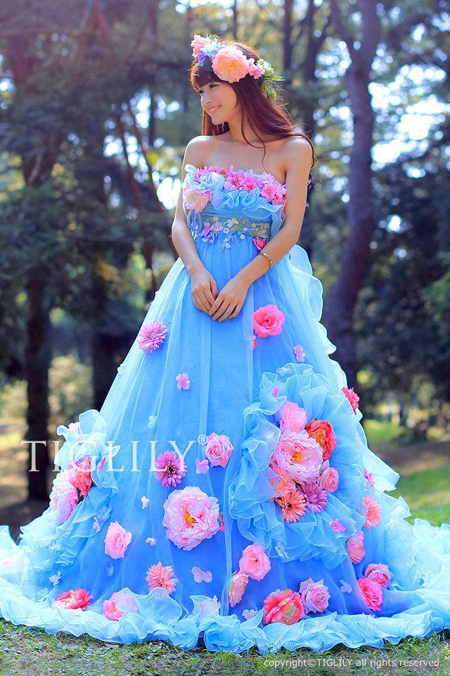 c088b TIGLILY カラードレス ブルー