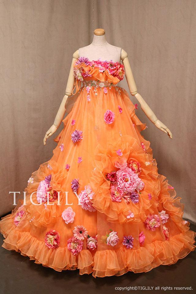 c088org TIGLILY カラードレス オレンジ